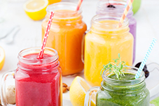 frutas e smoothies